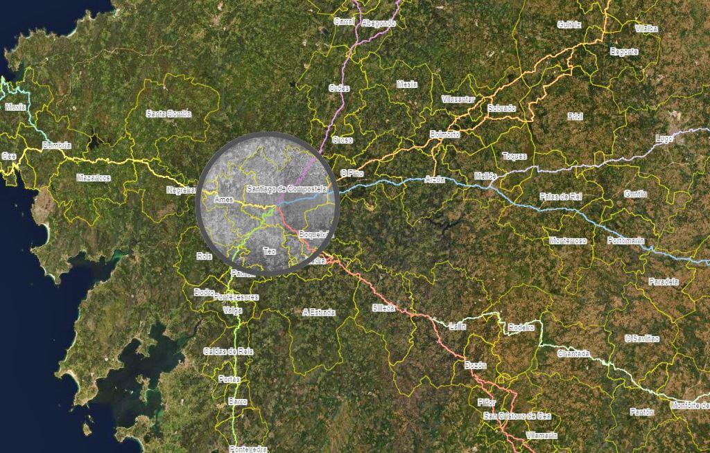 Los Caminos de Santiago a lo largo del tiempo. Visor web.